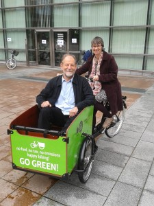 Molly in the saddle with Green MEP Michael Cramer, chair of the European Parliament Transport Committee.