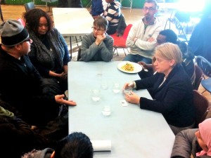 Natalie Bennett and Molly Scott Cato hear heard stories of courage and inspiration from refugees and asylum seekers.