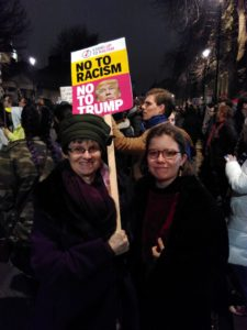 Molly with her daughter at a demonstration against Trump in London.