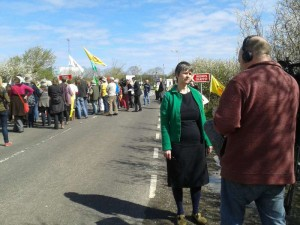 TV interview outside Hinkley
