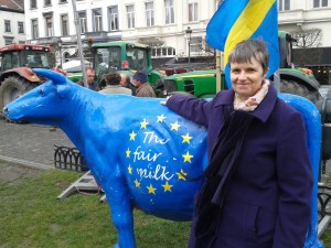 Molly joins a demonstration in front of the European Parliament  organised by the European Milk Board (EMB) to protest at weaknesses in the follow-up to the ending of the milk quota system.