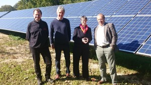 Alan Seviour, Managing Director of North Dorset based ACE Energy, Edward Parker, Springhead Trust Manager, Molly Scott Cato MEP and Climate Change Officer Keith Wheaten Green.