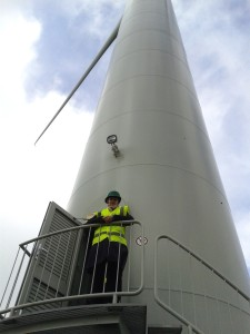 Molly with wind turbine at Delabole, Cornwall