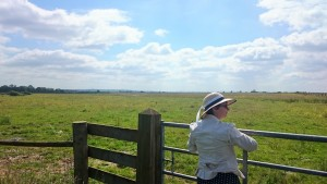 Molly surveys Blakehill Farm Nature Reserve, the UK's largest grassland restoration project.