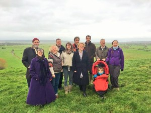 Molly Scott Cato MEP (Front left) and Natalie Bennett (front, 4th from left) join campaigners on the Somerset Levels