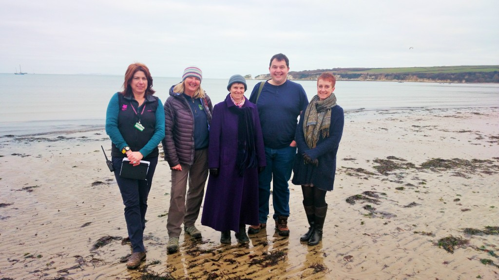 Molly at Studland Bay (centre) with (L to R) Emma Wright (National Trust), Julie Hatcher (Dorset Wildlife Trust), Phil Christopher and Alice Rogers (Purbeck Green Party).